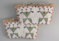 American Indian Art:Beadwork and Quillwork, A PAIR OF SIOUX MINIATURE BEADED HIDE TIPI BAGS. c. 1885. ...