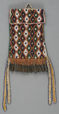 American Indian Art:Beadwork and Quillwork, AN APACHE BEADED HIDE STRIKE-A-LIGHT BAG. c. 1885...