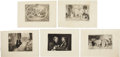 Antiques:Posters & Prints, Exceptional Group of Five Engraved Illustrations Dealing with Love.Various plate imprint sizes, page size overall 17 inches... (Total:5 Items)