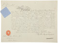 "Autographs:Non-American, Queen Victoria Document Signed ""Victoria R."" One partiallyprinted page, 16"" x 12"", November 25, 1897, ""Given at OurC..."