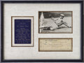 Autographs:Checks, 1948 Ty Cobb Signed Check Display....
