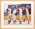 Autographs:Photos, Circa 1990 Snider, Mantle, DiMaggio & Mays Signed LargePhotograph....