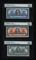 Canadian Currency: , Three Canadian Notes PMG Graded. ... (Total: 3 notes)