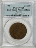 Colonials, 1785 COPPER Connecticut Copper, African Head VF35 PCGS....