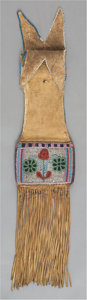 American Indian Art:Beadwork and Quillwork, A CREE BEADED HIDE TOBACCO BAG. c. 1870...