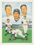 Baseball Collectibles:Others, New York Yankees Legends Signed Lithograph. ...