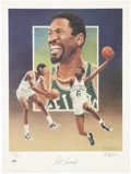 Basketball Collectibles:Others, Bill Russell Signed Lithograph by Christopher Paluso. ...