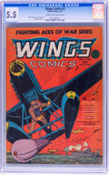 Golden Age (1938-1955):War, Wings Comics #5 (Fiction House, 1941) CGC FN- 5.5 Cream tooff-white pages....
