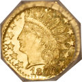 California Fractional Gold, 1876 25C Indian Octagonal 25 Cents, BG-799E, High R.7, MS64Prooflike NGC....