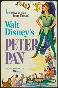 "Peter Pan (Buena Vista, R-1976). One Sheet (27"" X 41""). Animated"