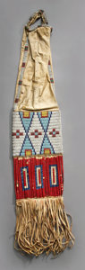 American Indian Art:Beadwork and Quillwork, A SIOUX BEADED HIDE TOBACCO BAG. c. 1880...