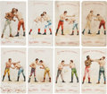 """Boxing Cards:General, 1893 N266 Red Cross """"Boxing Positions and Boxers"""" Collection (8)...."""