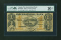 Canadian Currency: , Toronto, CW- The International Bank $1 September 15, 1858 Ch. # 380-10-12-04a. ...