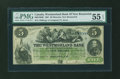 Canadian Currency: , Moncton, NB- The Westmorland Bank $5 Aug. 1, 1861 Ch. # 800-12-06R....