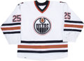 Hockey Collectibles:Uniforms, 2001-02 Mike Grier Edmonton Oilers Game Worn Jersey. ...