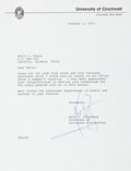Autographs:Celebrities, Neil Armstrong Typed Letter Signed as UC Professor of AerospaceEngineering....