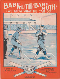 """1928 """"Babe Ruth! Babe Ruth! (We Know What He Can Do)"""" Sheet Music"""