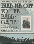 "Baseball Collectibles:Others, 1908 ""Take Me Out to the Ballgame"" Sheet Music. ..."