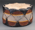 American Indian Art:Wood Sculpture, A COCHITI PAINTED WOOD AND HIDE DRUM. c. 1935...