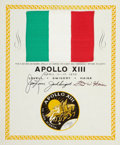 Explorers:Space Exploration, Apollo 13 Flown National Flag of Italy Originally from the Personal Collection of Mission Commander James Lovell....