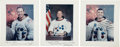 Autographs:Celebrities, Apollo 13 Crew-Signed Individual White Spacesuit Color Photos....(Total: 3 Items)