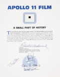 Explorers:Space Exploration, Apollo 11 Lunar Module Flown Camera Film on a Certificate of Authenticity, Signed by Mission Lunar Module Pilot Buzz Aldrin....