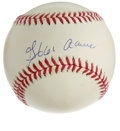 Autographs:Baseballs, Hank Aaron Single Signed Baseball. At the time of this writing,Hammerin' Hank continues to reign as baseball's All-Time Ho...