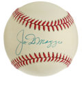 Autographs:Baseballs, Joe DiMaggio Single Signed Baseball. Neat application of Joe D's sweet spot signature appears on the offered OAL (Brown) ba...