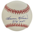 "Autographs:Baseballs, Harmon Killebrew ""573 HR's"" Single Signed Baseball. Killer makesreference to his lofty career home run total with the exce..."