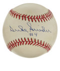 "Autographs:Baseballs, Duke Snider ""#4"" Single Signed Baseball. The Dodgers' beloved Dukeof Flatbush makes his presence known with this sweet spo..."