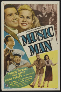 """Music Man (Monogram, 1948). One Sheet (27"""" X 41""""). Musical. Starring Jimmy Dorsey and His Orchestra, Freddie S..."""