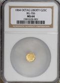 California Fractional Gold, 1864 25C Liberty Octagonal 25 Cents, BG-706, High R.5, MS64 NGC....