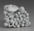 Asian:Chinese, CHINESE CARVED HARDSTONE GROUP. Chinese carved hardstone group ofpeaches and ruyi fungus. Of green coloration. 4-3/4in. l...