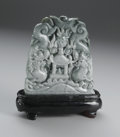 Asian:Chinese, CHINESE CARVED JADE PLAQUE. Chinese carved jade/hardstone plaque,depicting two writhing dragons flanking a flaming pearl ...