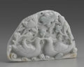 Asian:Chinese, CHINESE CARVED JADE/HARDSTONE PLAQUE. Chinese carved jade/hardstonereticulated plaque with two ducks in the water surroun...
