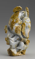 Asian:Chinese, CHINESE CARVED JADE GROUP. Chinese carved jade group of twocockerels amid flowers and rockery. Of green coloration with r...