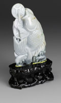 Asian:Chinese, CHINESE CARVED JADE/HARDSTONE CARP. Chinese carved jade/hardstonecarp amid waves with a strand of coins. Of green colorat...