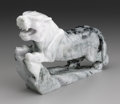 Asian:Chinese, CHINESE CARVED JADE/HARDSTONE FIGURE. Chinese carved jade/hardstoneopenwork figure of a tiger with forelegs upon rockery ...