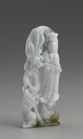 Asian:Chinese, CHINESE CARVED JADE/HARDSTONE FIGURE. The Chinese carved jade/hardstone figure of a guanyin holding a scepter and standing...