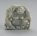 Asian:Chinese, CHINESE CARVED HARDSTONE OF BUDAI. Chinese carved hardstone seatedBudai holding a branch of peaches and scepter, of pale ...