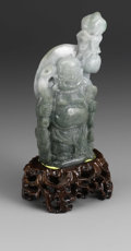 Asian:Chinese, CHINESE CARVED JADE/HARDSTONE FIGURE. Chinese carved jade/hardstone figure of a standing Budai, holding a staff with peach...