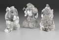 Asian:Japanese, GROUP OF THREE ROCK CRYSTAL FIGURES. Group of three rock crystalfigures of the Japanese deities: one of Ebisu, and two mo...