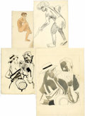Original Comic Art:Sketches, Jesse Marsh - Life Drawing Sketch Original Art, Group of 13 (undated). ... (Total: 13)