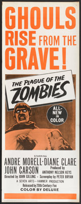 "The Plague of the Zombies (20th Century Fox, 1966). Insert (14"" X 36""). Horror"