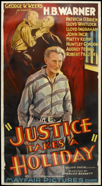 "Justice Takes a Holiday (Mayfair Pictures, 1933). Three Sheet (41"" X 78""). Crime"