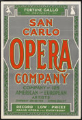 """Movie Posters:Musical, San Carlo Opera Company (Fortune Gallo, 1930s). One Sheet (28"""" X 41""""). Musical.. ..."""