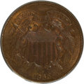 Two Cent Pieces, 1865 2C MS65 Brown PCGS. PCGS Population (31/4). NGC Census:(166/21). Mintage: 13,640,000. Numismedia Wsl. Price for NGC/P...
