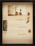 Autographs:Celebrities, Henry H. Ogden Thrice Signed Document and Relics Collected on theFirst Around the World Flight, 1924. In a period shadow-bo...