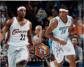 Basketball Collectibles:Others, LeBron James And Carmelo Anthony UDA Dual-Signed Oversized Photograph....