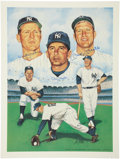 Baseball Collectibles:Others, New York Yankees Legends Signed Lithograph....